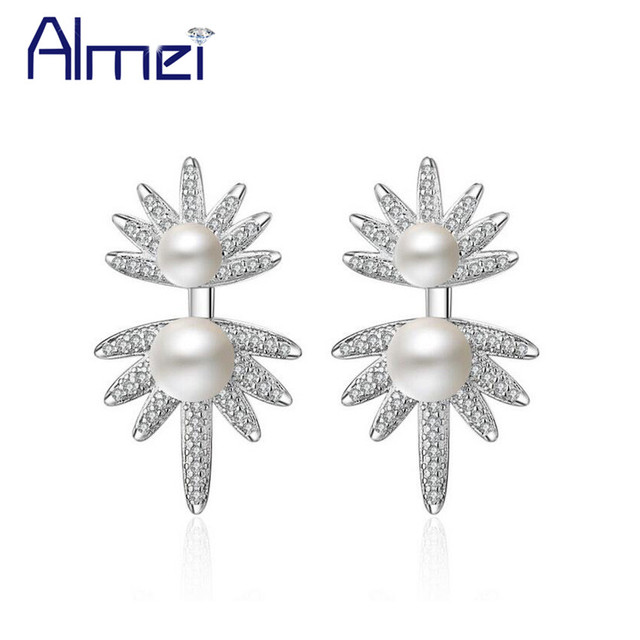 Almei Maple Leaf Canada Flag Stud Earrings For Women Las Silver Color Abs Simulated Pearl Earring