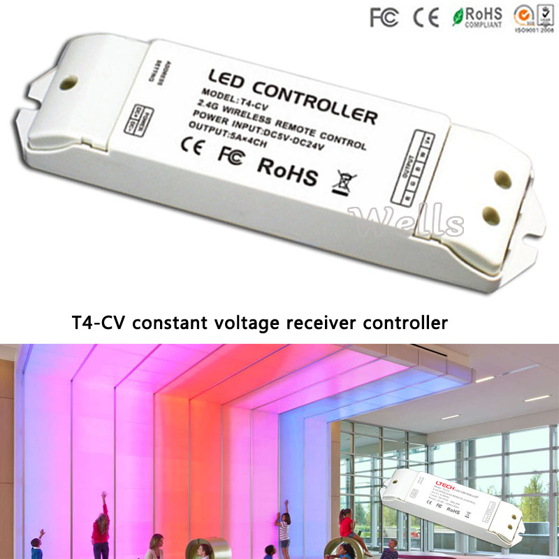 T4 LED RGBW 2.4G 8 Zone Wireless Sync/zone Remote Controller T4-CV/T4-CC receiver for RGBW led strip t4 cc receiver controller 2 4g wireless remote constant current led current suitable for t4 remote control free shipping