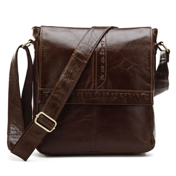 Augus Genuine Leather Tiny Messenger Bag Classic And Durable Sling Bag Fashional Cross Body Bag For Young 7125B augus 100% genuine leather laptop bag fashional and classic crossbody bags leather for men large capacity leather bag 7185a