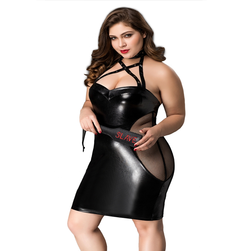 Plus Size Latex Costume Fancy Dress Sexy Leather Night Sleepwear Babydoll Lingerie With Hand Bat P71139