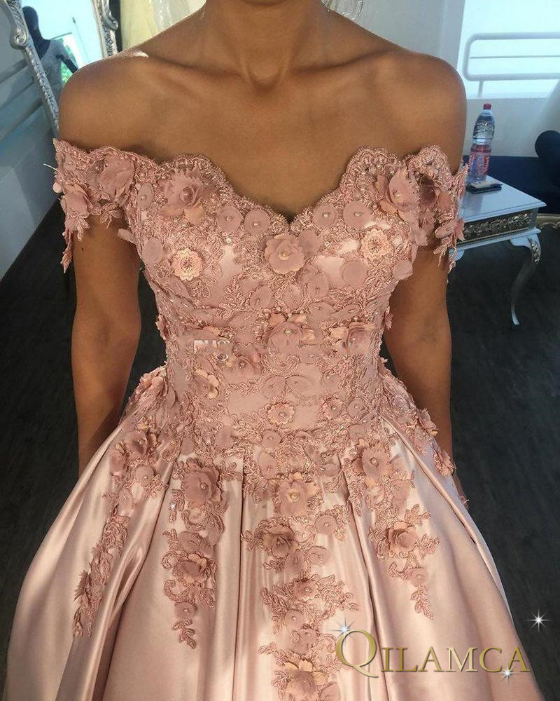 Off Shoulder Pink   Prom     Dress   elegant Sweetheart Lace Appliques 3D flowers long evening party   dress   party gown