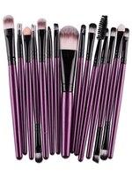 15piece/lot Makeup Brush Kit Animal Hair Syntehtic Hair White Handle Conveniently Portable Make Up Brush Set