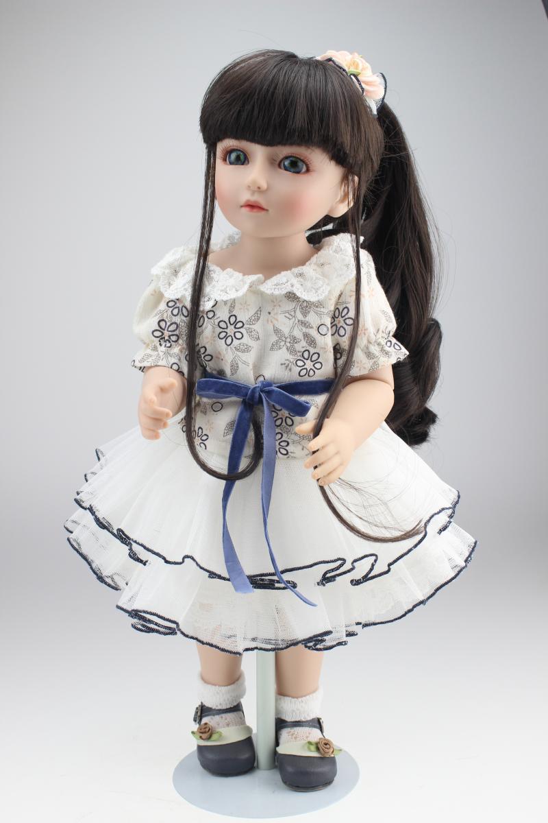 18 Inch 45cm New Lifelike Vinyl Reborn Baby doll Full Vinyl SD BJD Body Dolls For Girls 18 inch 45cm new lifelike vinyl reborn baby doll full vinyl sd bjd body dolls with clothes for girls gh587
