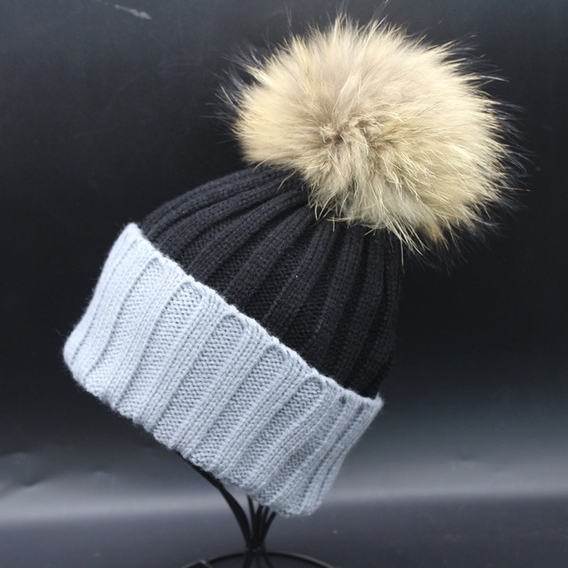 new super big genuine raccoon fur beanies knitted arcylic thick warm winter cute patchwork colorful casual beanies top quality