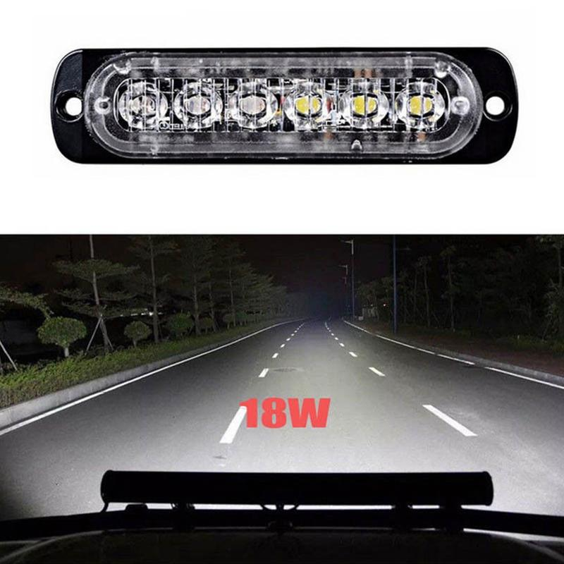 18W Spot LED Flashing Light Work Bar Driving Signal Lamp for Off-road SUV Auto Car Boat Truck Alarm Lights Spot LED Lamp 12V/24V image