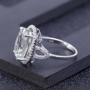 Image 3 - GEMS בלט יוקרה 5.57Ct סגלגל טבעי ירוק Prasiolite חן טבעות 925 כסף טבעת נישואים נשים תכשיטים