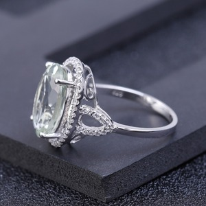 Image 3 - Женское кольцо с камнем GEMS BALLET, обручальное кольцо из стерлингового серебра 925 пробы с овальным натуральным зеленым прасиолитом, 5,57ct