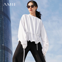 Amii Minimalist Women Sweatshirt 2018 Straps O Neck Long Sleeve Female Pullovers Sweatshirts