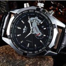 2016 WINNER new male fashion skeleton military clock leather men casual automatic mechanical self wind luxury dress wristwatch