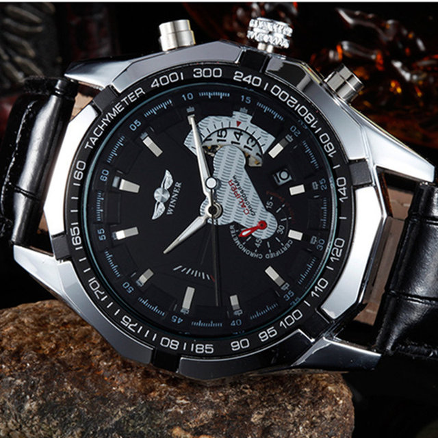2016 WINNER new male fashion skeleton military clock leather men casual automatic mechanical self wind luxury dress wristwatch