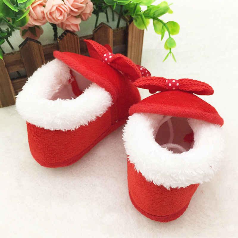 Niño recién nacido bebé niñas lindo arco suave cuna suela botas Prewalker zapatos calientes primeros caminantes