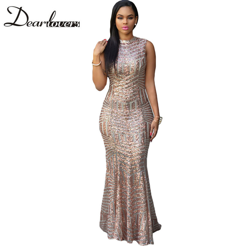 Dear lovers Sexy Women Keyhole Back Party Gown Dress with Sequin Cloth for Women O-Neck Backless Maxi Mermaid Dress LC60881
