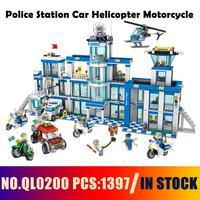 Совместимые модели ГОРОДА ЗДАНИЕ QL0200 1397 шт полицейский участок автомобиль-вертолет мотоцикл строительные блоки игрушки и хобби