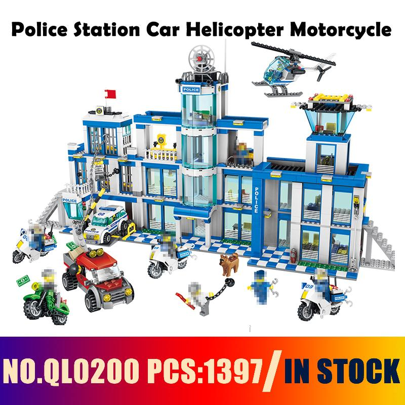 Compatible with lego City Models building QL0200 1397PCS Police Station Car Helicopter Motorcycle Building Blocks toys & hobbies bohs building blocks city police station coastal guard swat truck motorcycle learning