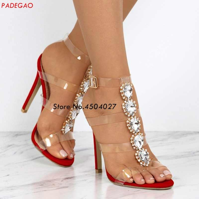 Sexy red peep toe high-heeled buckle strap diamond sandals women summer Transparent PVC Crystal women's shoes