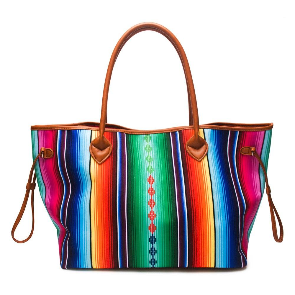 2 Pcs Serape Und Aztec Frauen Handtasche Leinwand Casual Handtasche In frauen Tote Mit Zwei Saiten Freies Verschiffen DOM1086-in Taschen mit Griff oben aus Gepäck & Taschen bei  Gruppe 2