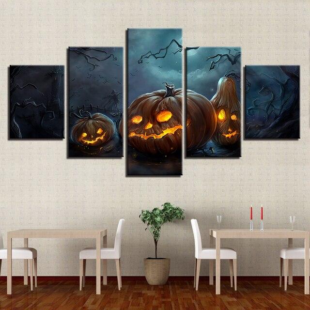 Painting Style Wall Modular 5 Panel Hallowmas Pictures For Living Room Pumpkin Lantern Art Canvas  Modern Framework Decoration