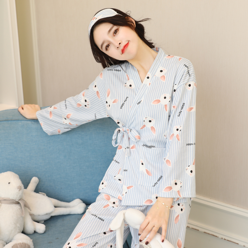 cartoon new spring simple fresh cotton crane japanese kimono womens pajamas sets
