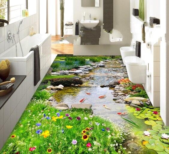 [Self-Adhesive] 3D Koi Creek Garden 2 Non-slip Waterproof Photo Self-Adhesive Floor Mural Sticker WallPaper Murals Wall Print