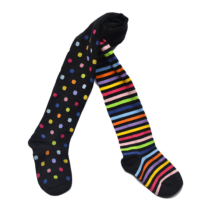 Hot Spring and Autumn baby girl children tights cotton tights for Girls Knee High Socks tights pantyhose girls striped dot black