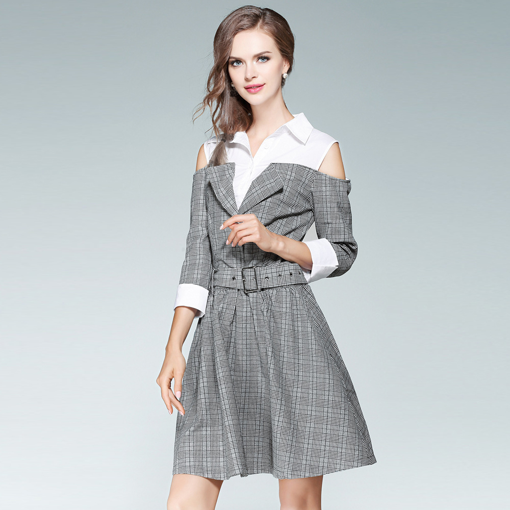 UNIQUEWHO Girls Women Gray Plaid Dress Casual Shirt Collar Patchwork Dress Fake Two Piece A-Line Mini Dress with Belt Spring New women work dress longsleeve spring new european station grid pencil skirt fake two professional dress l13