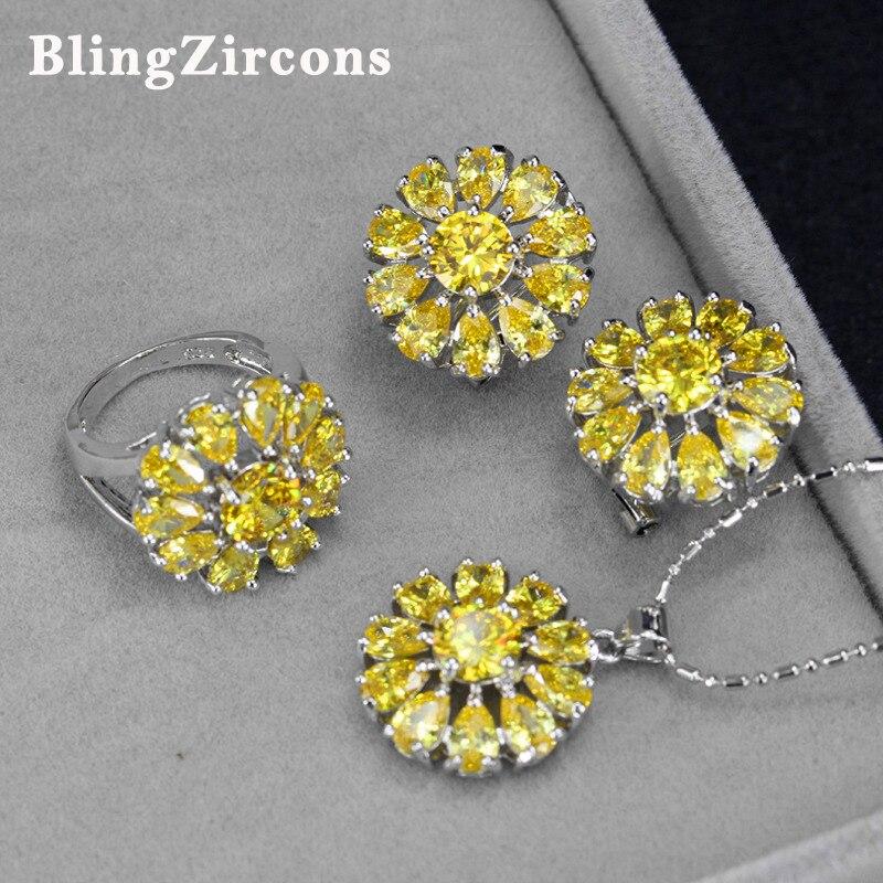 BlingZircons 3 Pcs Women Yellow Cubic Zircon Sunflower Drop Pendant Necklace Earring Ring 925 Sterling Silver Jewelry Sets JS007