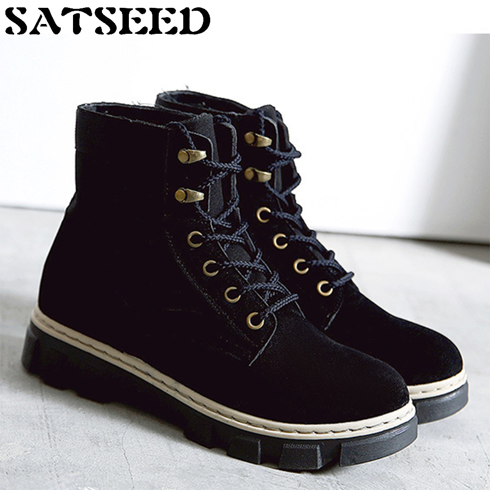 2017 New Winter Boots Shoes Nubuck Leather Work Shoes Flat High Desert Martin Boots Ankle Lace-up Low Square Heel Mesh Sewing z suo brand new winter women motocycle boots leather lace up ankle martin boots shoes black brown high quality