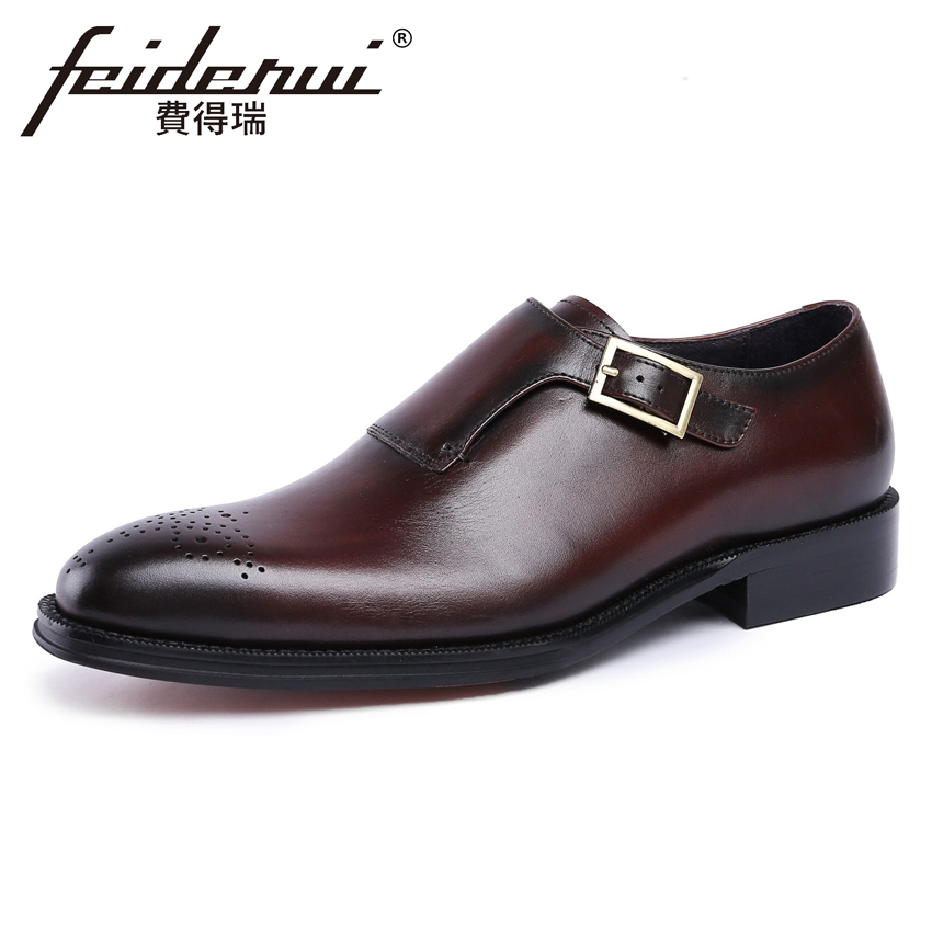 Fashion Genuine Leather Men's Monk Strap Footwear Round Toe Handmade Male Wedding Party Shoe Formal Dress Shoes For Man YMX244 luxury snake pattern patent leather men s monk strap formal dress footwear round toe handmade male casual shoes for man ymx411