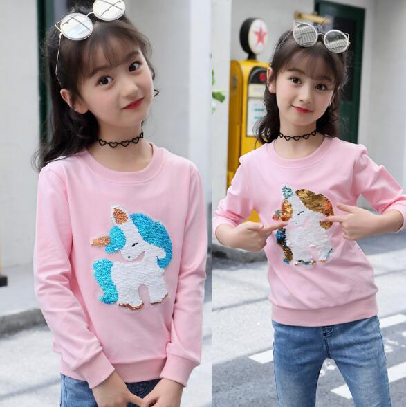 New Arrival change color Girls Unicorn Sequins Pink Sweatshir for Girls Kids autumn Children's Cotton Hoodies Kids Clothes 3-11Y цена