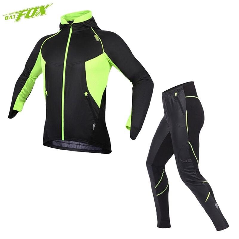 BATFOX Cycling clothing Bike jacket men women 3D gel breathable pad Coat pants Winter thermal fleece Cycling Set Bicycle jerseys