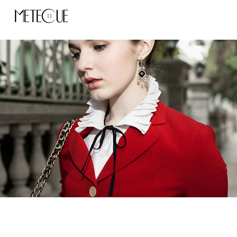 Image 4 - British Style Pleated With Lace Up Fake Collar Shirt Women Fashion Stand Detachable Collar White And Black False Collar 2018