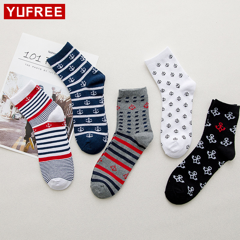 Breathable Casual Socks Men Cotton Hot Sale Anchor Stripe Patchwork Funny Socks 2018 New 5 Pairs/Lot HE81