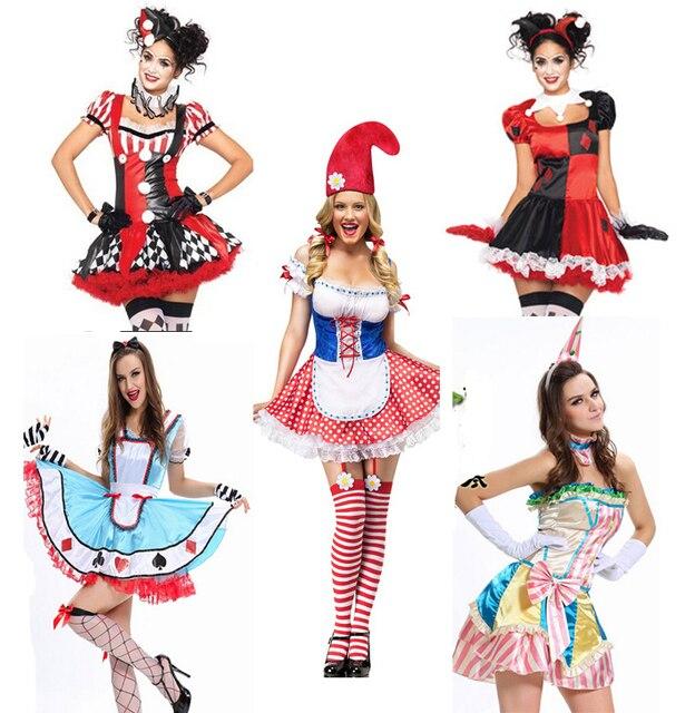 e505f873a Traje de Halloween Para As Mulheres Adulto Batman Harley Quinn Cosplay  Traje Fantasia Sexy Vestido Lolita