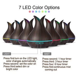 Image 2 - KBAYBO קולי אוויר מכשיר אדים 400ml ארומה חיוני שמן מפזר עם עץ תבואה 7 צבע שינוי LED אורות עבור משרד בית