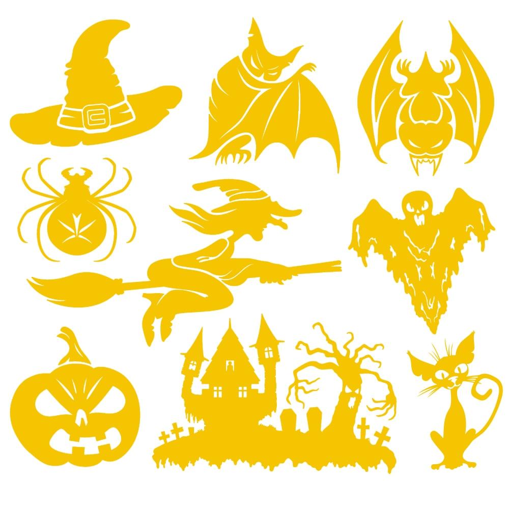 Halloween decoration clipart - Car Stickers Props 9pcs Car Decals Home Car Window Stickers Bat Spider Witch Stickers Halloween Decoration