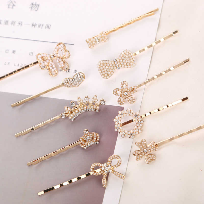 5PCS Women Fashion Pearl Metal Hair Clips Hair Accessories Girls Hairpins Lady Sweet Headwear Hair Bride wedding Styling Tools