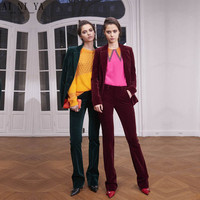 New Formal Suits for Women Office Business Suitspants Work Wear Sets Uniform Styles Velvet Elegant Pant Suits Green & Wine Red