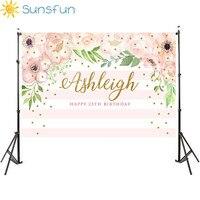 Sunsfun 5x3ft розовый и мятно-зеленый цветочный фон для взрослых для печати на день рождения фон цветочный полосатый фон 150x90 см