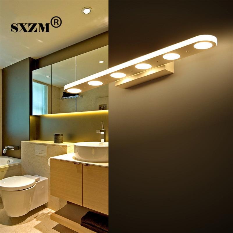 SXZM  38cm 58cm Led mirror light 12W or 18W waterproof wall lamp fixture AC110V 220V Acrylic wall mounted bathroom lighting