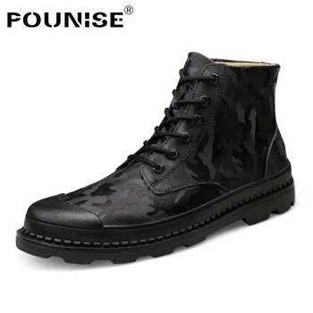 Men Boots Winter Genuine Leather Shoes   High Top Motorcycle Shoes Man Keep Warm Camouflage Military Boots