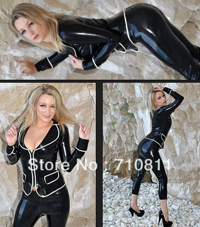 Latex Black Jacket and   Capri     Pants   rubber sets for ladies