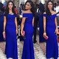 Королевский Синий Длинные Русалка Пром Dress Атласная С Плеча Длина Пола Длинное Вечернее Dress Special Occasion Dress