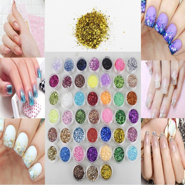Brillo de Uñas de Gel UV Polaco Paillette Ongles Decoracion Brillantini Hexágono Polvo Polvo Bling de Lentejuelas Láser de Colores DIY Kit 045B