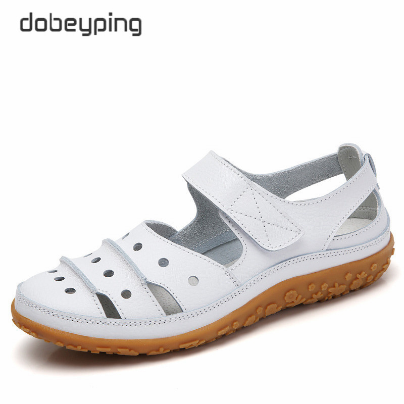 Dobeyping Hollow Woman Sandals Breathable Women Beach Shoes Genuine Leather Female Flats Cut-Outs Women's Loafers New Arrival