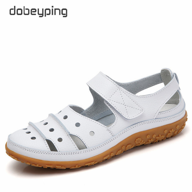 dobeyping Hollow Woman Sandals Breathable Women Beach Shoes Genuine Leather Female Flats Cut Outs Womens Loafers New Arrival