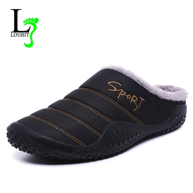 2020 Shoes Men Winter Slippers Warm Waterproof Canvas Shoes With Fur Plus Size 39 48 Outside Slippers Casual Rubber Non slip