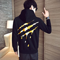 Aolamegs Men Black Hoodie Blood Scratch Mens Hip Hop Popular Brand Clothing Hooded Pullover Kanye Sweatshirts Plus Velvet 5XL