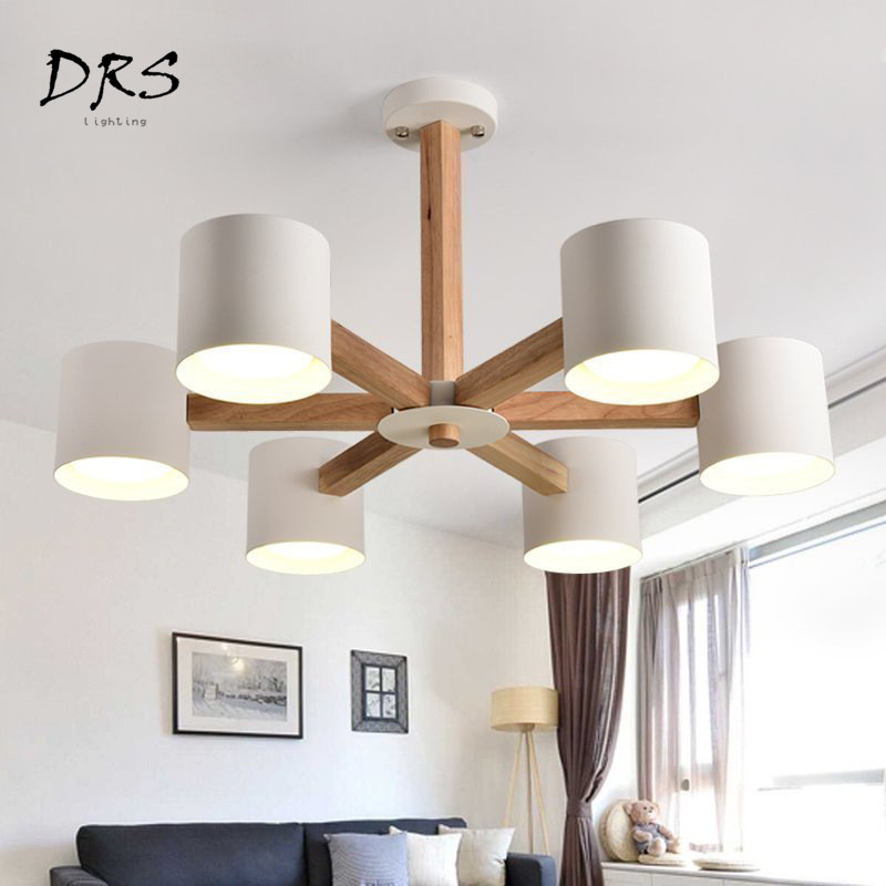 DRS Nordic Chandelier E27 with Iron Lampshade for Living Room Suspendsion Lighting Fixtures Lamparas Colgantes Wooden Lustre Chandeliers     - title=