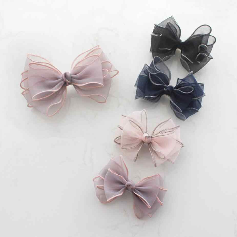 New Cute Lace Multi-Layer Bow Hair Clip Korean Fashion Women Solid Organza Head Clip Splice Hair Accessories Elegant Girl Bow