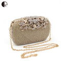 2016 Women Shinning Handbag Side Diamond Flower Crystal Shoulder Bag Ladies Gold Day Clutch Wedding Party Evening Minaudiere Bag